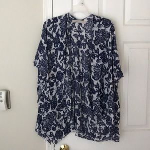 Blue and white summer poncho